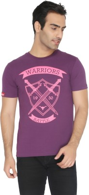 Again Vintage Printed Men's Round Neck Purple T-Shirt