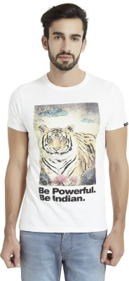 The Indian Solid Men's Round Neck White T-Shirt