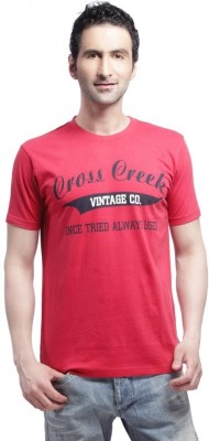 Cross Creek Printed Men's Round Neck Red T-Shirt