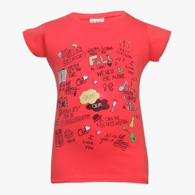 Tales & Stories Printed Girl's Round Neck Red T-Shirt