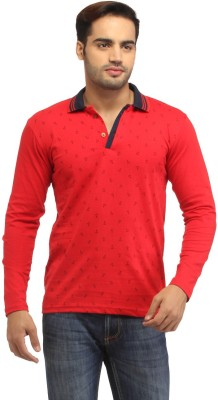 Stylistry Printed Men's Polo Neck Red T-Shirt