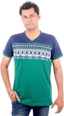 All Ruggby Printed Men's V-neck Dark Blue T-Shirt