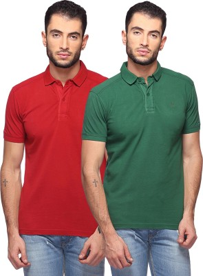 GOAT Solid Men's Polo Neck Maroon, Green T-Shirt