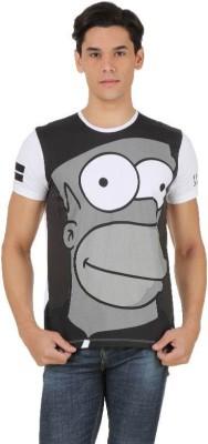 Simpsons Printed Men's Round Neck White, Black, Grey T-Shirt