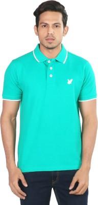 Provogue Solid Men's Polo Neck Green T-Shirt