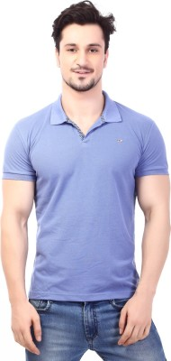 Rugby Solid Men's Polo Neck Purple T-Shirt