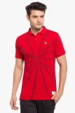 Copperstone Printed Men's Polo Neck Red ...
