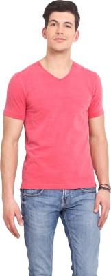 Smokestack Solid Men's V-neck Red T-Shirt