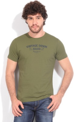Pepe Jeans Printed Men's Round Neck Green T-shirt