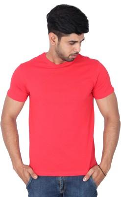 Nod,r Solid Men's Round Neck Red T-Shirt