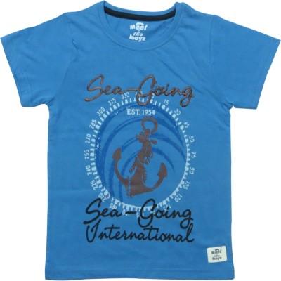 Kothari Printed Boy's Round Neck Dark Blue T-Shirt