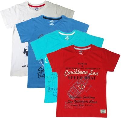 Kothari Printed Boy's Round Neck Multicolor T-Shirt