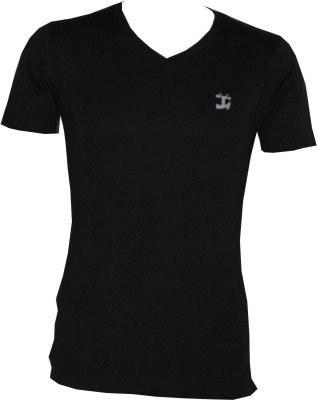 Tick Lish Solid Men's V-neck Black T-Shirt