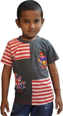 Just In Plus Solid, Striped Baby Boy's Round Neck Grey, Red T-Shirt