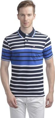 WRIG Striped Men's Polo Neck Blue T-Shirt