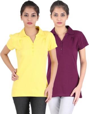 Avarnas Solid Women's Polo Neck Purple, Yellow T-Shirt