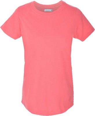 Nordlich Solid Women,s Round Neck Pink T-Shirt