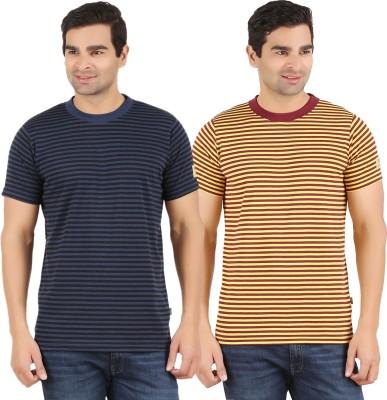 Recca Striped Men,s Round Neck Dark Blue, Yellow T-Shirt