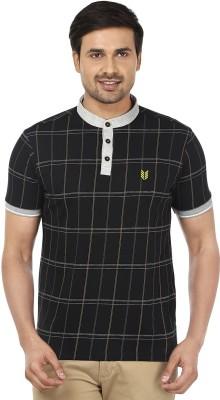 Ruse Checkered Men's Mandarin Collar Black T-Shirt