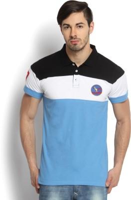 Kingaroo Solid Men's Polo Neck Black, White, Blue T-Shirt