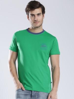 Harvard Solid Men's Round Neck Green T-Shirt