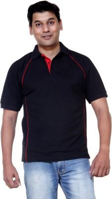 Ashdan Solid Men's Polo Neck Black T-Shirt