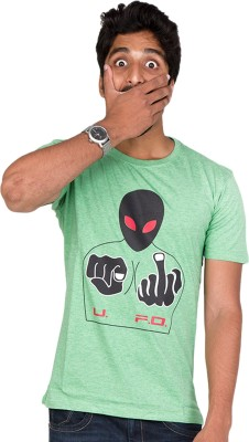 Furious Active Graphic Print Men's Round Neck Light Green T-Shirt