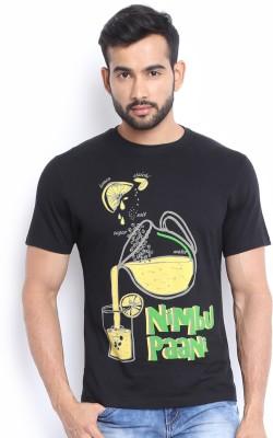 Soul Deep Skin Printed Men's Round Neck Black T-Shirt
