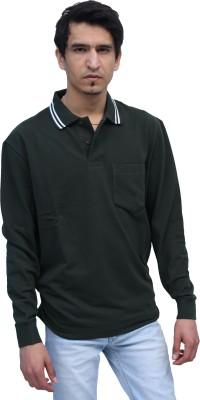 Romano Solid Men's Polo Neck Green T-Shirt