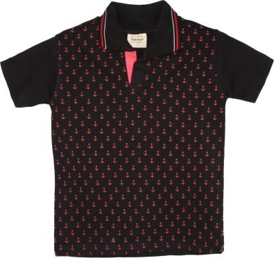 Tonyboy Printed Boy's Polo Neck Black T-Shirt