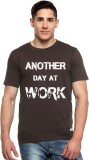 ADRO Printed Men's Round Neck Brown T-Sh...