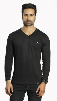 ALBITEN Solid Men's V-neck Black T-Shirt