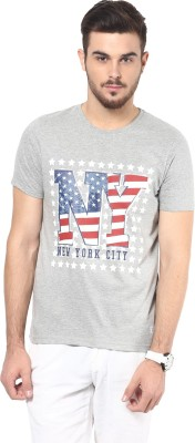 Henry and Smith Printed Men's Round Neck Grey T-Shirt