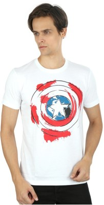 Planet Superheroes Graphic Print Men's Round Neck White T-Shirt