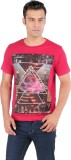 Ice Finger Printed Men's Round Neck Red ...