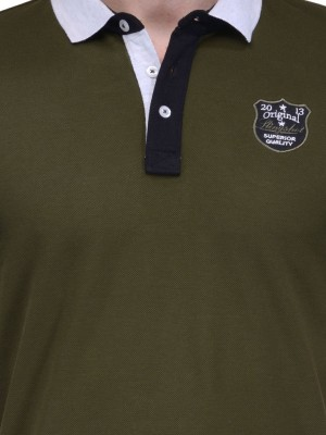 Slingshot Solid Men's Polo Neck Green T-Shirt