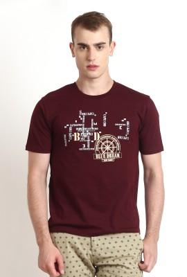 Teen Tees Graphic Print Men,s Round Neck Maroon, White T-Shirt