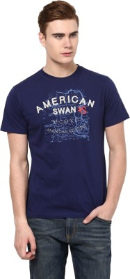 American Swan Graphic Print Men's Round Neck Blue T-Shirt
