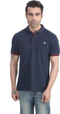 John Players Solid Men's Polo Neck Blue T-Shirt