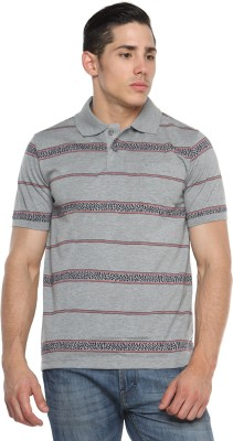 Tempt Striped Men's Polo Neck Grey T-Shirt
