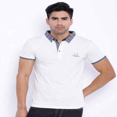 Le Bison Solid Men's Polo Neck White T-Shirt