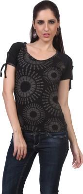 Viral Lifestyle Printed Women's Scoop Neck Black T-Shirt