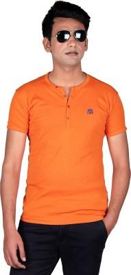 Cute Collection Solid Men's Round Neck Orange T-Shirt