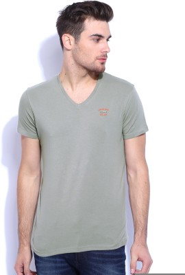 Wrangler Solid Men's Round Neck Grey T-Shirt