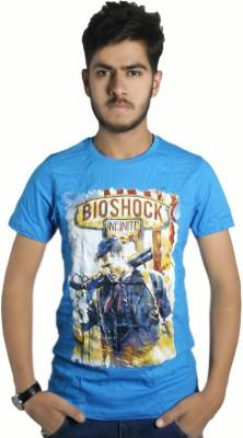 Live Green Graphic Print Men's Round Neck Blue T-Shirt