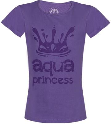 Aquamagica Printed Girl's Round Neck Purple T-Shirt