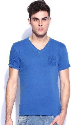 883 Police Solid Men's V-neck Blue T-Shirt