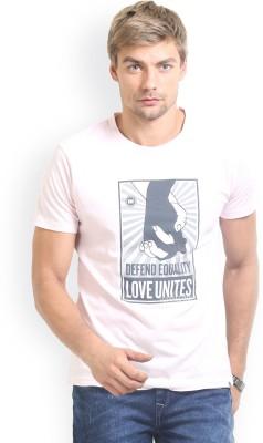 HW Printed Men,s Round Neck Pink T-Shirt