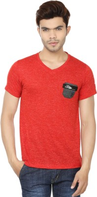 Lowcha Polka Print Men's V-neck Blue, Black T-Shirt