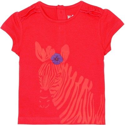 Baby Pure Printed Baby Girl's Round Neck Red T-Shirt